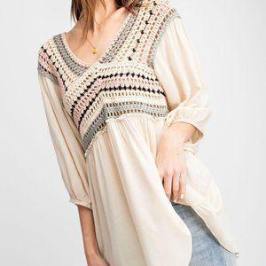 NWT Easel Crochet Top